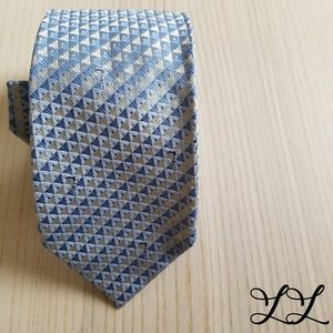 Trussardi Tie Blue Grey Logo Greyhounds Silk Italy